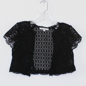 Rebellion Tops - 💘 Rebellion Black Lace Shrug Bolero Small